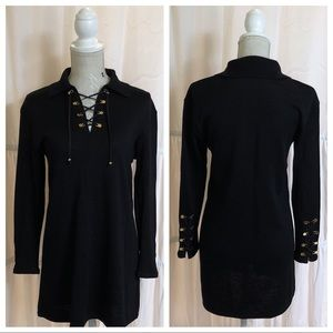 St John Size P Black Long Sleeve Tunic Dress